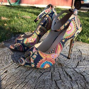 Shoes - Paisley Print Heels